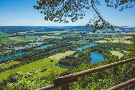 Weser Uplands / Weser Hills. View of Weser river and surroundings near the city of Höxter in North Rhine Westphalia, Germany