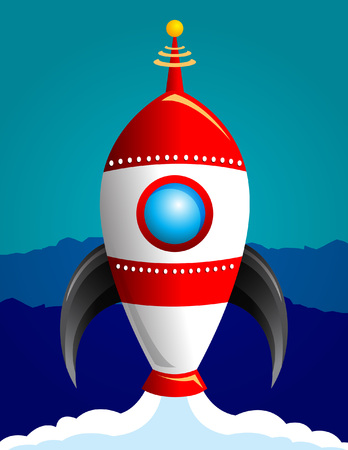 Space rocket vector illustration print Vettoriali