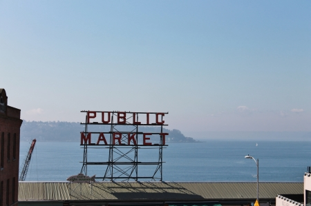 pike place market: The sign of Public market pike street Seattle