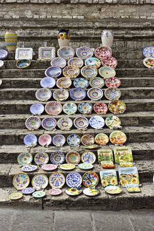 weekly market: Ceramic plates in the weekly market of Perugia, Italy