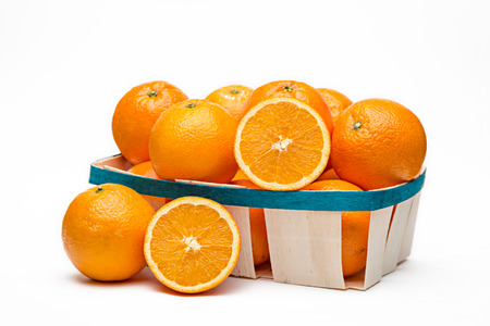 foreshortening: Basket of oranges in lateral foreshortening on white background
