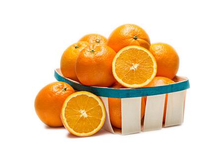 foreshortening: Basket of oranges in front foreshortening on white background