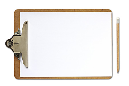 Clipboard and pencil on white background