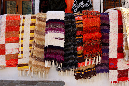 Rugs exposed for sale in Pampaneira Granada Spain