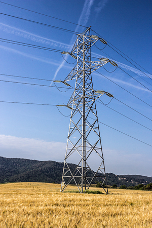 Hochspannung Pylon in einem Weizenfeld Standard-Bild - 47674971