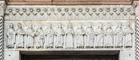 Detail of the portal of the church of San Martino, Lucca, Tuscany, Italy
