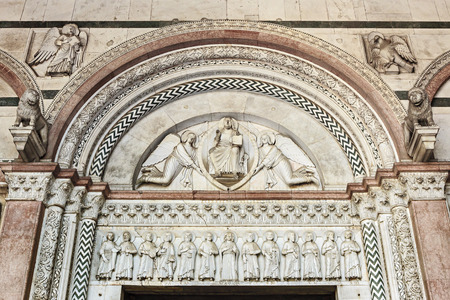 Tympanum of the portal of the church of San Martino, Lucca, Tuscany, Italy