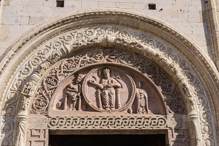 Tympanum of the portal of the Cathedral of San Rufino, Assisi, Umbria, Italy
