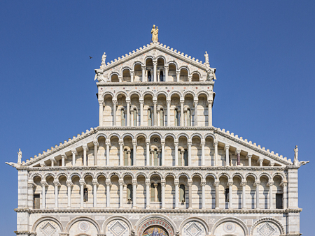 Colonnade of the facade of the Duomo of Pisa, Tuscany, Italy