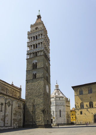 Duomo and Baptistery belfry from City Hall of Pistoia, Tuscany, Italy