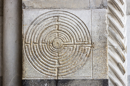 Stone labyrinth in the vestibule of San Martino, Lucca, Tuscany, Italy Stock Photo