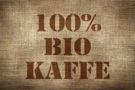 100% Organic Coffee sack german version Stock Photo