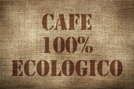 100% Organic Coffee sack spanish version Standard-Bild