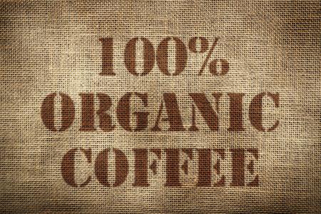 100% Bio-Kaffee Sack Ingl? S Version Standard-Bild - 58761926