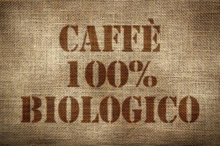 coffee sack: 100% Organic Coffee sack italian version Stock Photo