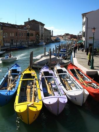 murano: colored boats in Murano, Venice Stock Photo