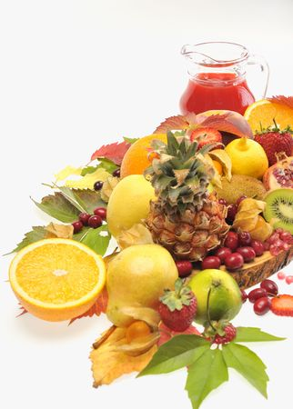 fresh fruits and red juice Stock Photo - 8783829