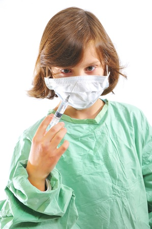little girl doctor with syringe Stock Photo - 8784228