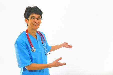 doctor with stethoscope  invites Stock Photo - 8784204