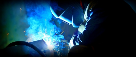 mig: welding with mig-mag method Stock Photo