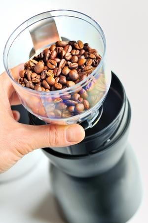 molinillo: molinillo de café eléctrico Foto de archivo