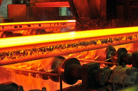 furnace: hot steel on conveyor