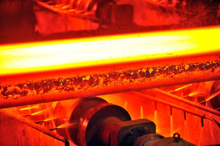molten: hot steel on conveyor