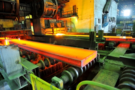 steel factory: Gas cutting of the hot metal