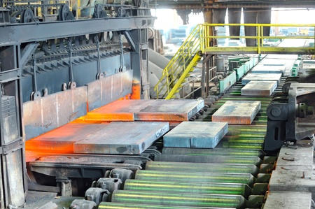 steel factory: hot steel in oven