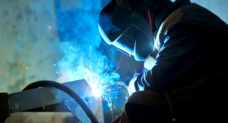 welding with mig-mag method Stock Photo