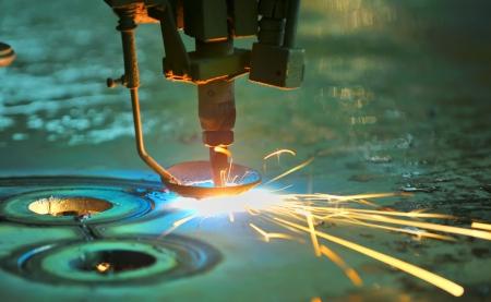 lasercutting: Laser cutting metal sheet Stock Photo