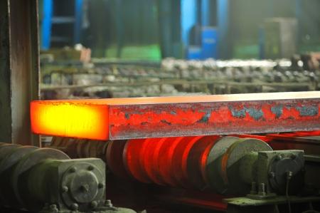 hot steel on conveyor Stock Photo - 16476995