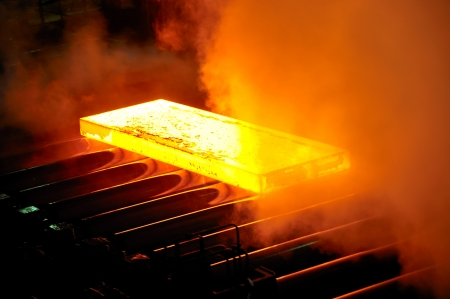 rolling: hot steel on conveyor