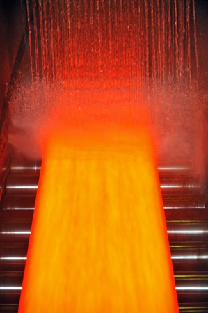 automatically: cooling hot steel plate Stock Photo