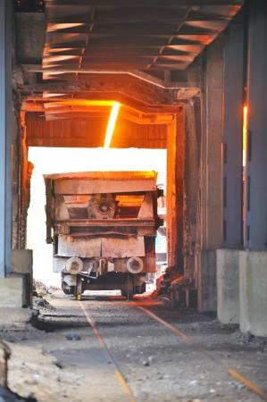 metal casting: transportation molten hot steel Stock Photo