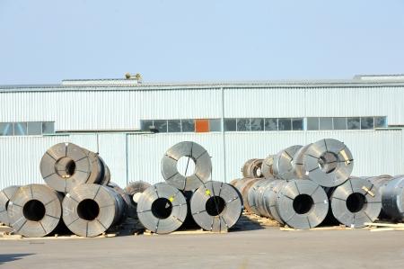treadplate: rolls of steel sheet in harbor
