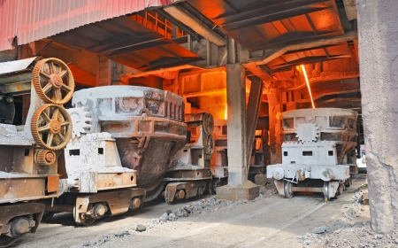 steel buckets to transport the molten metal Stock Photo - 16478469