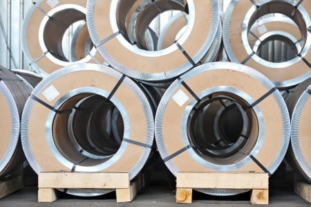 packed rolls of steel sheet photo