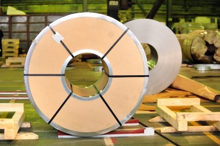 treadplate: packed roll of steel sheet Stock Photo