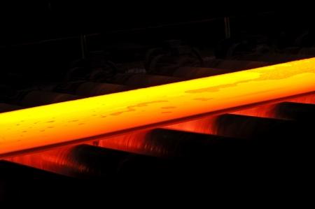 hot steel on conveyor Stock Photo - 20778106
