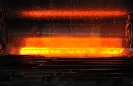 hot steel on conveyor Stock Photo - 20778109
