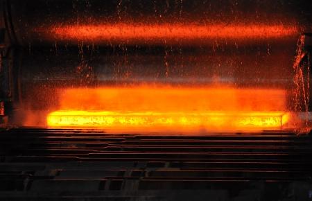 hot steel on conveyor Stock Photo - 20778109