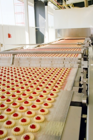 biscuit dough: production cookie in factory