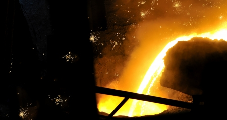 Molten hot steel photo
