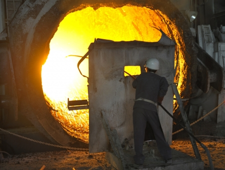 worker with hot steel Stock Photo - 20778002