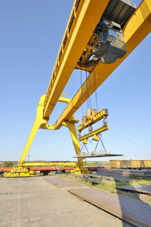 crane and steel plates  Stock Photo - 16478187