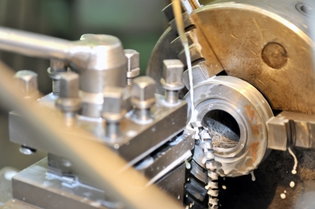 manufacturing equipment: Turning lathe in action