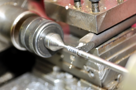 Turning lathe in action