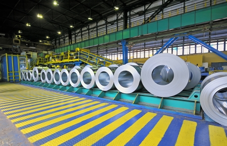 packed rolls of steel sheet