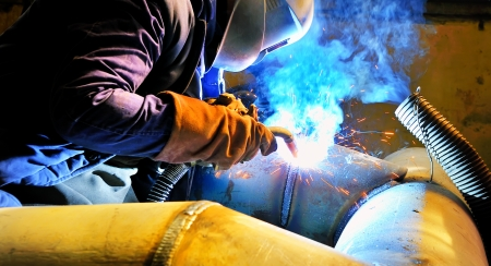 method: welding with mig-mag method Stock Photo